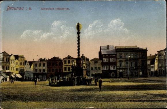 Ak Broumov Braunau Region Königgrätz, Blick auf den Ringplatz