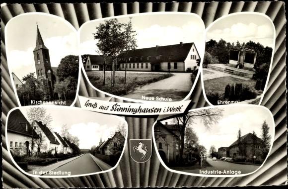 Ak Sünninghausen Oelde im Münsterland, Kirche, Schule, Ehrenmal, Wappen, Siedlung, Industrie Anlage