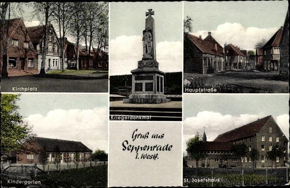 Ak Seppenrade Lüdinghausen im Kreis Coesfeld NRW, Kirchplatz, St. Josefshaus, Denkmal, Kindergarten