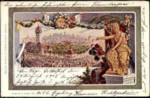 Künstler Ak Nürnberg in Mittelfranken Bayern, Volksfest 1902, Bierfass, Luftballons