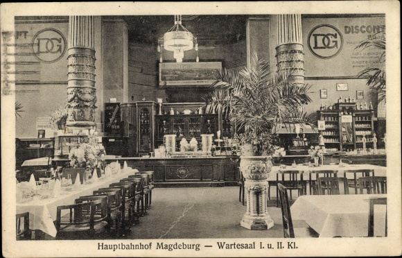 Ak Magdeburg an der Elbe, Hauptbahnhof, Wartesaal I. und II. Klasse