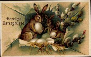 Ak Glückwunsch Ostern, Osterhasen, Ostereiernest, Weidenkätzchen