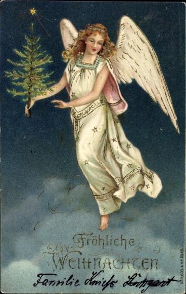 Präge Ak Frohe Weihnachten, Engel mit einer Tanne
