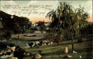 Ak Recklinghausen im Ruhrgebiet, Blick in den Stadtgarten mit Eingang, See