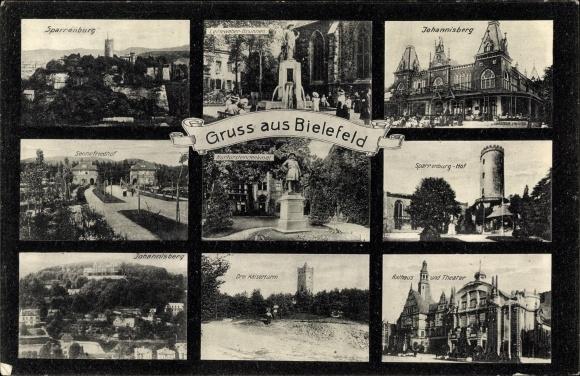 Ak Bielefeld, Sparrenburg, Leineweber Brunnen, Johannisberg, Kaiserturm, Sennefriedhof
