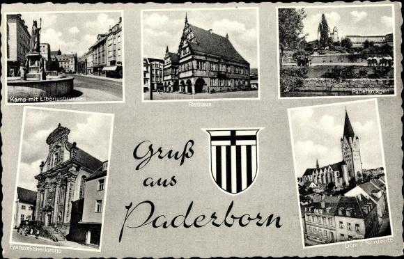 Ak Paderborn Westfalen, Wappen, Kamp, Rathaus, Anlagen, Dom, Franziskanerkirche, Liboriusbrunnen