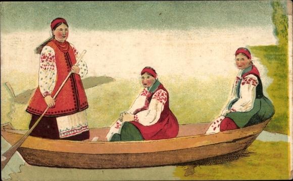 Künstler Ak Drei Frauen in russischen Volkstrachten in einem Ruderboot