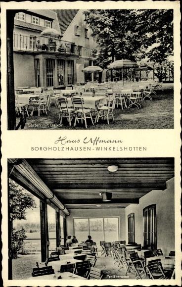 Ak Winkelshütten Borgholzhausen in Westfalen, Haus Uffmann, Garten mit Balkon, Freiterasse
