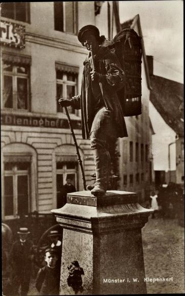 Ak Münster in Westfalen, Kiepenkerl, Straßenpartie