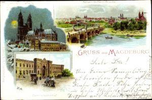 Litho Magdeburg an der Elbe, Stadtansichten, Dom, Kaiser Wilhelm Brücke, Bahnhof