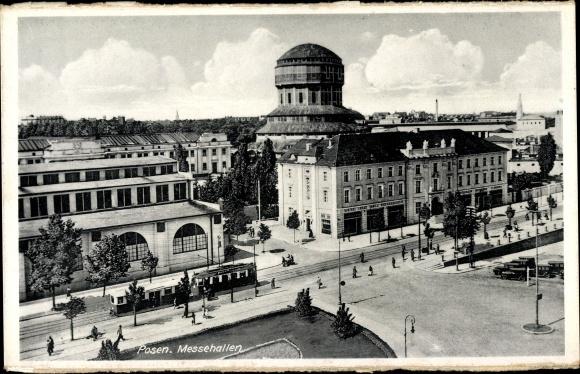 Ak Posen Poznań, Messehallen, targi, Straßenbahn, tramwaj