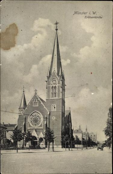 Ak Münster in Westfalen, Erlöserkirche, Außenansicht