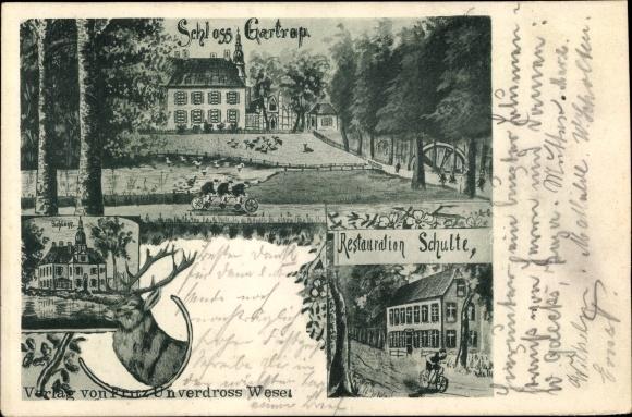 Ak Gartrop Bühl Hünxe am Niederrhein, Schloss Gartrop, Restauration Schulte, Hirsch