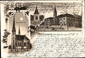 Litho Mülhausen Grefrath Nordrhein Westfalen, Pensionat Unserer Lieben Frau, Kirche, Dorfkapelle
