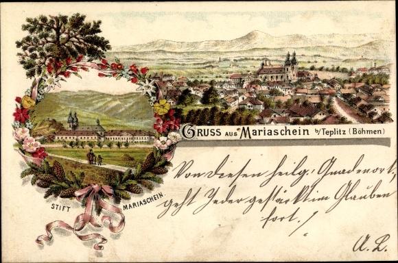 Litho Bohosudov Mariaschein Region Aussig, Totalansicht, Stift Mariaschein