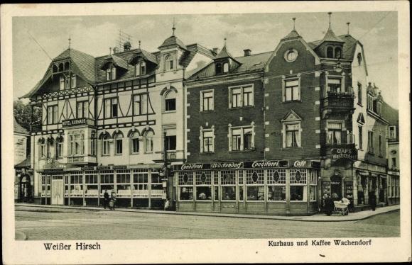 Ak Dresden Nordost Weißer Hirsch, Kurhaus und Kaffee Wachendorf