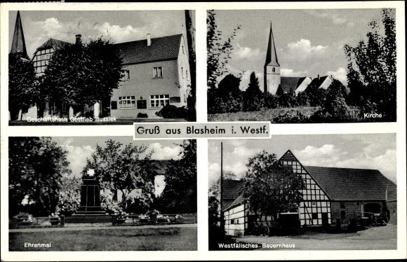 Ak Blasheim in Westfalen, Geschäftshaus Gottlieb Bussiek, Ehrenmal, Kirche, Westfäl. Bauernhaus