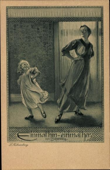 Künstler Ak Fahrenkrog, Ludwig, Einmal hin, einmal her, Mutter und Tochter, Tanzübungen