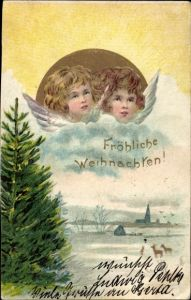Präge Litho Glückwunsch Weihnachten, Zwei Engel auf einer Wolke, Tannenbaum, Rehe