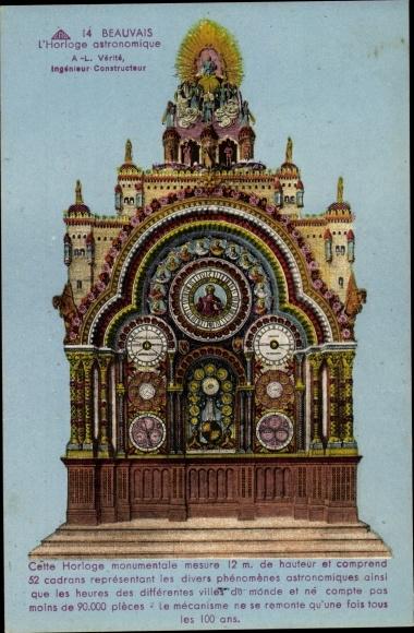 Ak Beauvais Oise, L'Horloge astronomique, Blick auf die astronomische Uhr