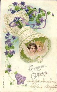 Präge Litho Glückwunsch Ostern, Engelportraits in einer Glocke, Veilchenblüten