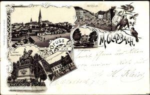 Litho Mönchengladbach Nordrhein Westfalen, Kaiserdenkmal, Bürgermeisteramt, Marktplatz