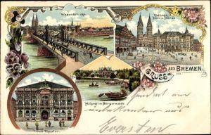 Litho Hansestadt Bremen, Weserbrücke, Rathaus, Dom, Börse, Tivoli Theater, Meierei