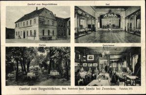 Ak Imnitz Zwenkau in Sachsen, Gasthof zum Bergschlösschen, Inh. Reinhold Senf, Saal, Garten, Gäste