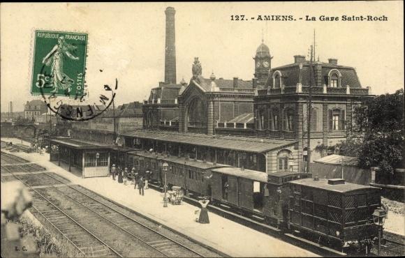 Ak Amiens Somme, La Gare Saint Roch, Bahnhof, Bahn, Gleisseite