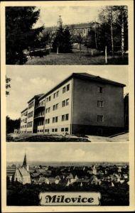Ak Milovice nad Labem Milowitz Mittelböhmen, Teilansichten, Gebäude