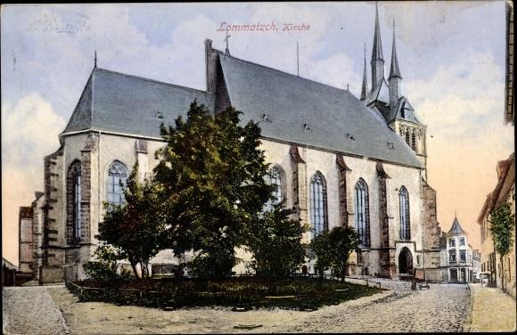 Ak Lommatzsch Sachsen, Kirche, Außenansicht 0