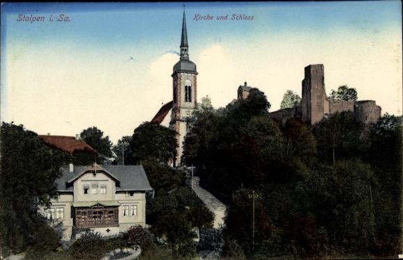 Ak Stolpen in Sachsen, Kirche und Schloss 0