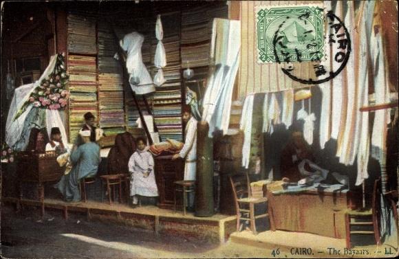 Ak Cairo Kairo Ägypten, The Bazars, Tuchhändler 0