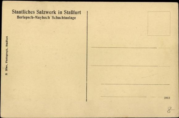 Ak Staßfurt Sachsen Anhalt, Staatliches Salzwerk, Berlepschschacht, Förderung 1