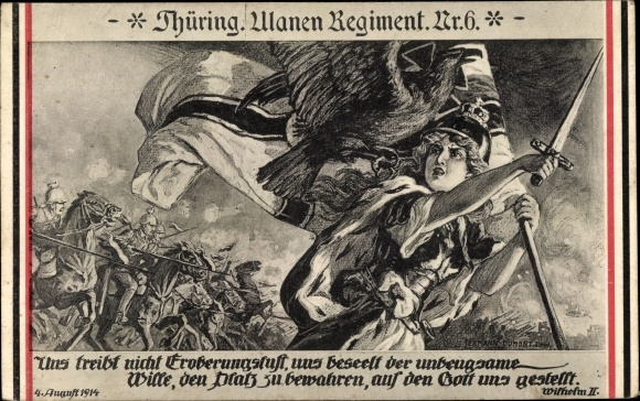 Künstler Ak Thür. Ulanen Regiment Nr 6, Germania, Schlachtszene