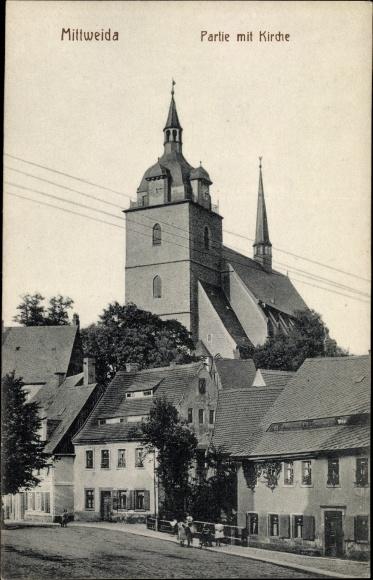 Ak Mittweida in Sachsen, Partie mit Kirche 0