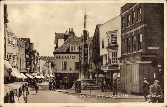 Ak Winchester Hampshire England, City Cross, Little Minster Street, Allen's Geschäftshaus 0
