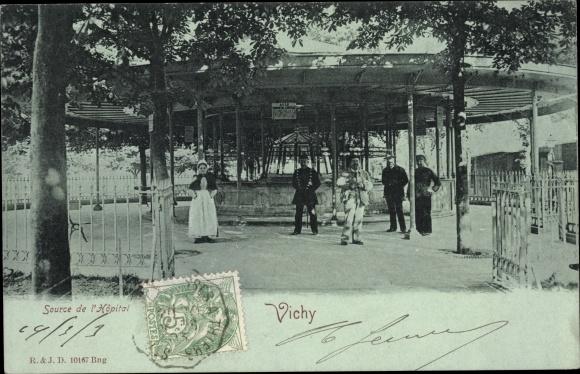 Mondschein Ak Vichy Allier, Source de l'Hopital, Brunnen, Pavillon 0