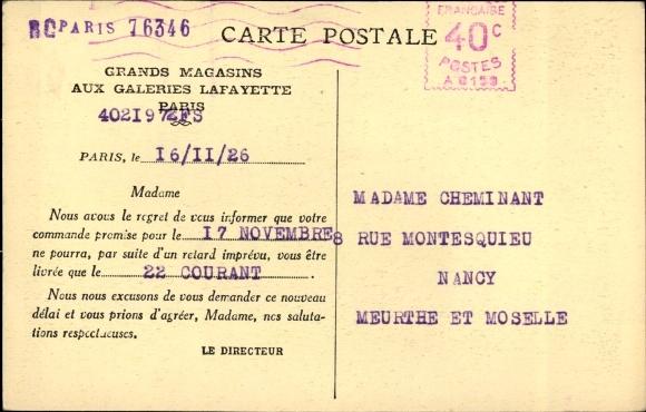 Ak Paris, La Rue Lafayette, Galeries Lafayette, Geschäftshaus, Passanten, Auto 1
