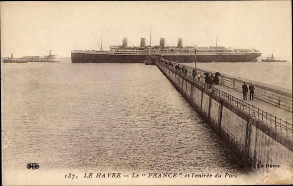 Ak Le Havre Seine Maritime, Transatlantikdampfer France, Compagnie Générale Transatlantique, Hafen 0