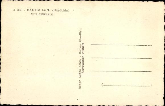 Ak Barembach Barenbach Elsass Bas Rhin, Vue Generale, Panoramaansicht von Ortschaft und Umgebung 1
