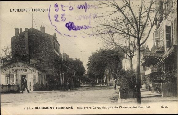 Ak Clermont Ferrand Puy de Dôme, Boulevard Gergovia, pris de l'Avenue des Paulines, J. Bichard 0