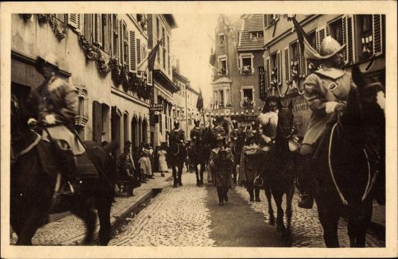 Ak Sélestat Schlettstadt Elsass Bas Rhin, Fêtes du Tricentenaire Français 1934, Maréchal, Cascogne 0