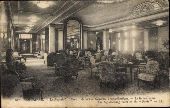 Ak Le Havre Seine Maritime, Le Paquebot Paris, Le Grand Salon, CGT, Levy & Fils 516 0