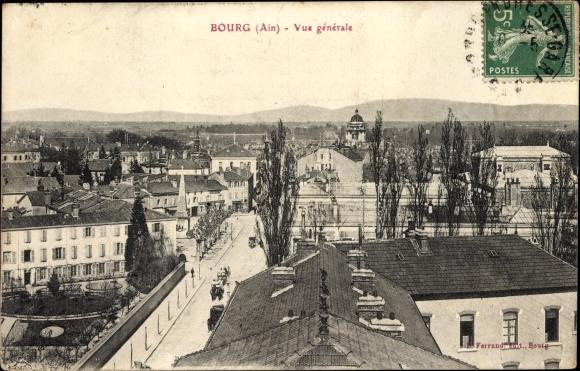 Ak Bourg en Bresse Ain, Vue générale, Teilansicht der Stadt 0