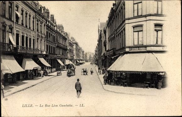Ak Lille Nord, La Rue Léon Gambetta, Teinturerie, Straßenansicht, Levy & Fils 13