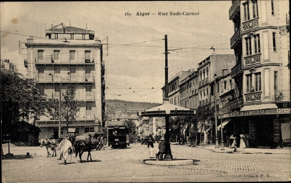 Ak Algier Alger Algerien, Rue Sadi Carnot, Café de la Bourse, Straßenansicht 0
