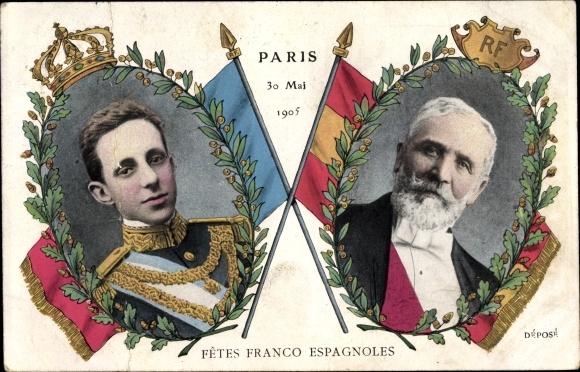 Ak Paris, König Alfons XIII. von Spanien, Président de la République Émile Loubet, 30.5.1905 0
