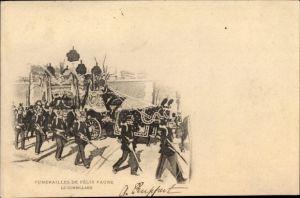 Ak Funérailles de Félix Faure 1899, Le Corbillard, Staatspräsident, Trauerzug