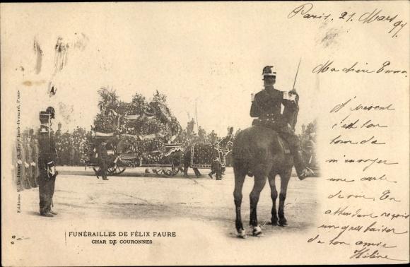 Ak Funérailles de Félix Faure 1899, Char de Couronnes, Staatspräsident, Trauerzug 0
